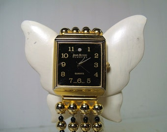 Joan Rivers Classics Heavy Beaded Watch with Large Square Black & Gold Face with Diamonique® Stone - Working Wrist Watch Signed Joan Rivers