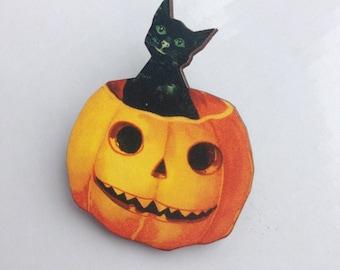 Black Cat in a Pumpkin  Halloween  Wooden Brooch Pin Birthday Gift Christmas Stocking Filler Laser Cut