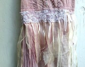 RESERVED FOR AMY bride bridesmaid party ooak hand dyed rose pink blush lace ribbons incredible romantic vintage lace dress