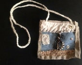 gypsy boho textile jewelry art fiber necklace denim bag wearable art denim eco original design purse ooak, gift