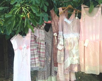 Custom made-to-order fall bride pink rose prairie hand dyed boho gypsy lace tan shabby rustic barn wedding bridesmaid dress