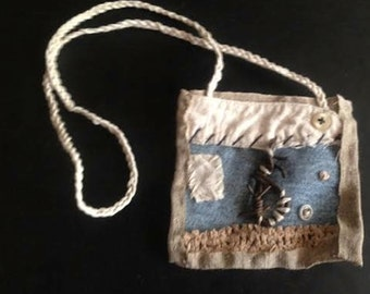 gypsy boho textile jewelry art fiber necklace denim bag wearable art denim eco original design purse ooak, gift