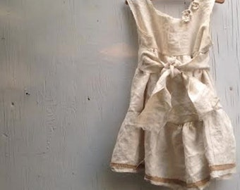 fairy child shabby vintage homespun linen boho flower girl rustic ecru party wedding prairie lace dress FREE ship in US