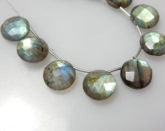 Labradorite Faceted Coin Briolette Size - 12x12MM Approx 10 Beads - Beautiful Blue Fire Wholesale Price