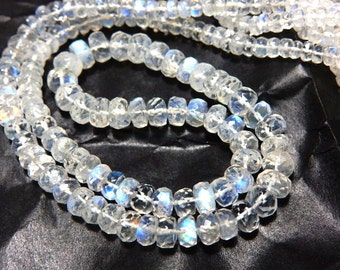 Rainbow Moonstone Rondelle Faceted Beads Blue Fire 14 ''  AAA High Quality  Size 4 to 7MM Approx Wholesale Price