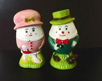 Vintage Salt and Pepper Shaker Set, Humpty Dumpty, Kitchen Decor, Collectible S & P, Nursery Rhyme, Serving Utensils, Kitchen Gadgets