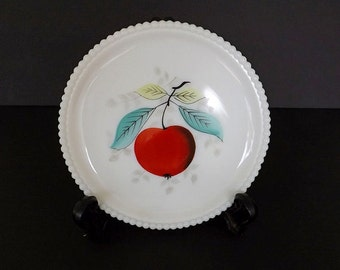 Vintage Westmoreland Milk Glass Plate, Decor, Decorative Plate, Collectible Glass, Hand Painted Plate, Fruit Decor, Kitchen Decor