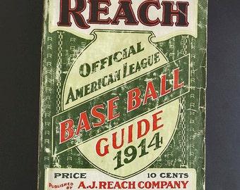 1914 Antique Baseball Book, A J. Reach Baseball Guide, American Baseball League Memorabilia, A J Reach, Babe Ruth, Baseball Photos