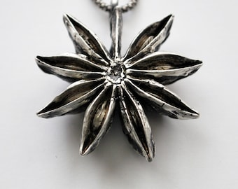 Sterling Silver Star Anise Pendant Necklace