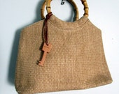 Vintage Fossil Straw Handbag with Bamboo Handle