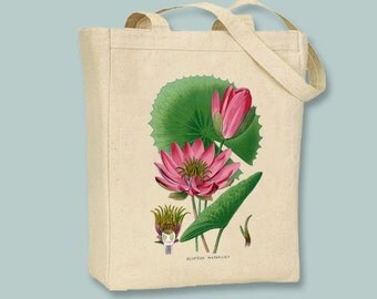 Egyptian Water Lily Vintage Illustration Canvas Tote -- Selection of Sizes available