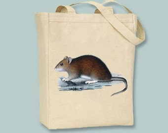 Woodland Rat Vintage Illustration Canvas Tote -- Selection of  sizes available