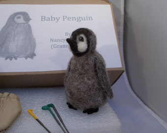 Kit Needle felting, Baby Penguin, all Materials and Instructions-- Grannancan