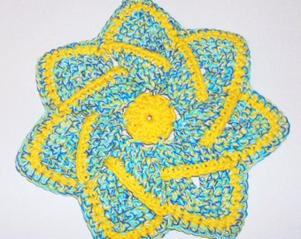 Star Flower Potholder - Turquoise, White and Yellow - 100% Cotton, Ecofriendly, Re-usable, Reversible