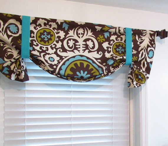 Items Similar To Tie Up Valance Lined Balloon Curtain