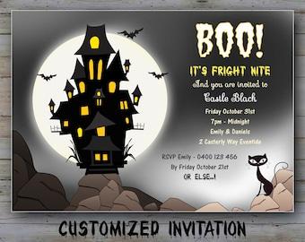 CUSTOMIZED Halloween Party Invitation, Scary invitation Halloween, Haunted House Invite, Haunted Castle invitation, Black Night, Black Cat,