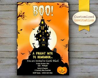 CUSTOMIZED Halloween Invitation, Halloween Party Invites, Haunted Castle Invitation, Orange and Black Halloween Party, Black Cat