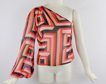 Reserved Vintage GIANNI VERSACE Couture  GEOMETRIC One Shoulder Silk Chiffon Runway Blouse Sz 42