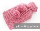 Hot Water Bottle Cover Knitting Pattern. Hot Bottle Cover Aran Cable. Warmer Cozy Cosie Winter Warmer Large PDF Pattern Digital Download