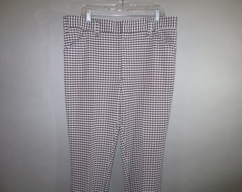 "1970's Poly Golf Pants // Brown and White Small Plaid // Boot cut...40"" waist X 23"" inseam"