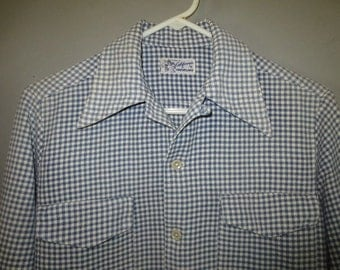 1950's Men's Flannel Cotton Shirt //  made in CA by CREVELING // Lt Blue Check // Flap Pockets...small