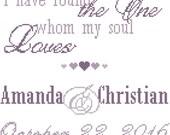 Wedding Cross Stitch Pattern/ Modern Wedding Cross Stitch Pattern/ I Have Found The One My Soul Loves/ Cross Stitch Pattern/ Digital Pattern