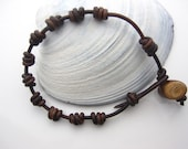 Knotted Leather Rosary for men, Small log closure, Men rosary, baptism, confirmation, communion gift