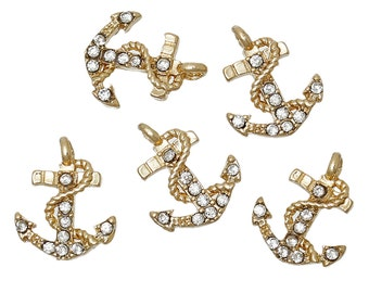 "5 ANCHOR Charms or Pendants . Gold Plated with rhinestone accents, 1/2"", chg0315"