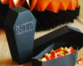Coffin Favor Candy Boxes- Set of 12 for Halloween Parties