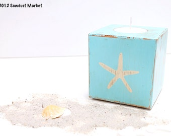 SALE! Beach Rustic Candle, Beach Cottage Decor, Gift for Her, Starfish Decoration, Beach Wedding, Summer Party