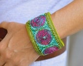Crazy Quilt Embroidery linen embellished bracelet with circles motif