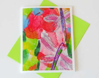 Dragonfly Art Watercolor Card // Printed Art Notecards // Colorful Notecard