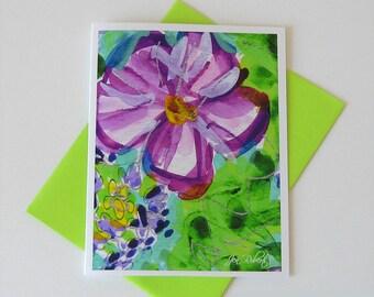 Purple Flower Watercolor Card // Modern Art Printed Notecards
