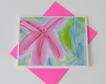 Starfish Watercolor Card // Printed Art Notecards // Abstract Art Card // You're a Star Card