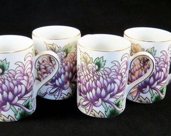 "Fitz & Floyd ""KIKU"" Lavender Chrysanthemum MUGS-Cups / Set of 4 PorcelainMugs from Japan 4"" Tall: Housewarming-Mother's Day-Christmas Gift"