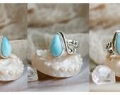 Dolphin Heart Larimar Silver Ring