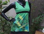 purple green upcycled overlocked tropical faery party maxi dress uk size 8 10