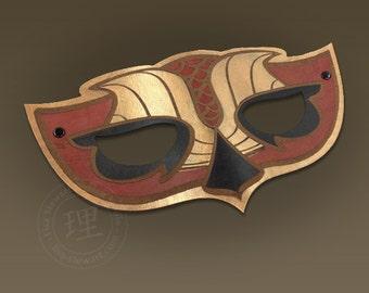 Full Grain Leather Owl 1 Mask - Animal - Halloween - Masquerade - WallArt Hand Painted Vegetable Tan