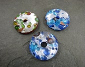 Murano Style Glass donut 3 pack pendant beads  jewelry making supplies