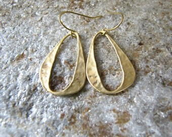 Gold hoop hammered ring dangle earrings