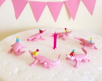 Pink Alligators Cupcake Toppers/Cake Toppers