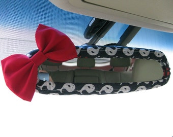 Rearview Mirror Cover Bow, Custom Rear View Mirror Cover with Bow BF11065