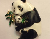 "Panda Brooch Finishing Piece For Outift Tote Purse Hat or Wedding Bouquet 2 x 1 1/4"" Enamel Green Gold Black"