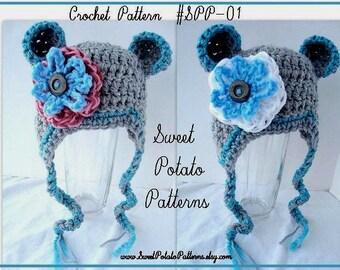 Crochet Hat Pattern - Little Monkey Ears Hat SPP01 - SweetPotatoPatterns Crochet Designs, INSTANT DOWNLOAD