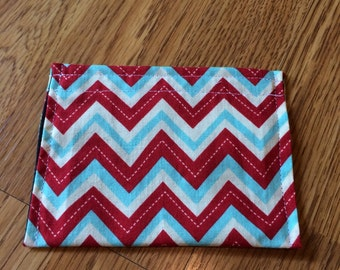 Business Card-Lipstick Pouch--Red and Blue Chevron