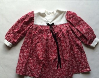 Vintage Handmade Burgundy Fall Dress (2t/3t)