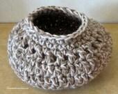 Crochet Basket - Brown Tweed Soft Basket - Key and Cell Phone Holder - Hanging or Table Basket - Find It Keep It Basket - Item 4397