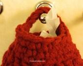 Hanging Crocheted Bag Holder - Plastic Grocery Bag Holder - Burgundy Plastic Bag Dispenser - Recycle Plastic Bag Holder - Item 4404