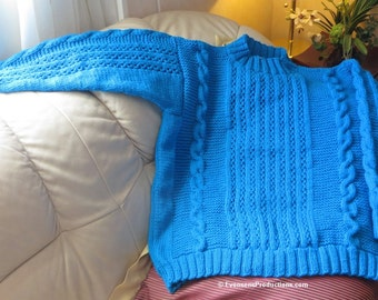 Turquoise Hand Knit Cables Textured Sweater - Unisex Sweater - Peacock Blue Jumper - Adult Size 44 - 46 - 48 - Item 4407