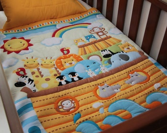 Quilt Baby Modern Noah's Ark & Pillow Case